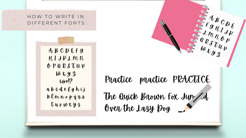 """How to Write in Different Fonts. Pictured: white board, notebook with letters written on page, paper with letters written on it mounted on cardstock. A marker practicing the sentence, """"The quick brown fox jumps over the lazy dog"""""""