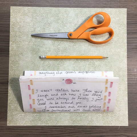 Paper, scissors, pencil and letter
