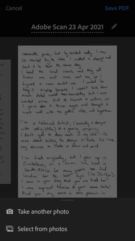 Letter from my Pen Pal: Saving it on Adobe Scan Mobile PDF