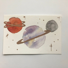 "Load image into Gallery viewer, ""Three Planets"" (White) Blank Watercolor Postcard w/ Metallic Accents"