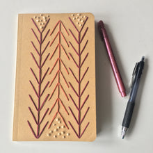 "Load image into Gallery viewer, ""Arrows and Specks"" 100% Recycled Notebook with Hand-Embroidered Art"
