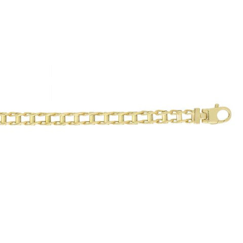 14kt 8.5'' Yellow Gold 5mm Shiny Rail Road Style Fan cy Link Bracelet with Lobster Clasp