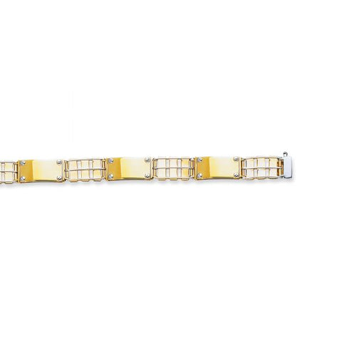 14kt Yellow+White Gold 8.50'' Railroad Type+Nail Head Men''s Rolex Bracelet with Box Catch Clasp