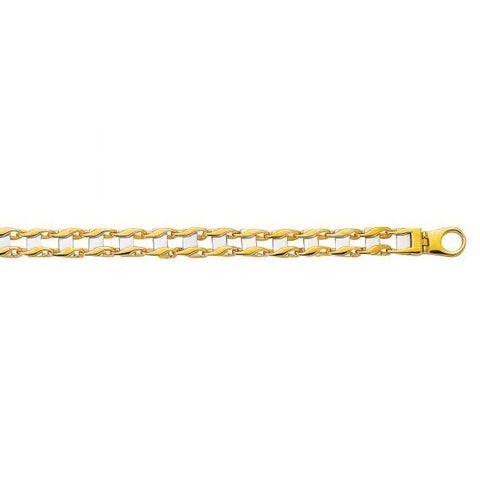 14kt Yellow+White Gold 8.5'' Railroad Type Men's Bracelet with Fancy Lobster Clasp