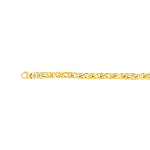 14kt Gold 8.5'' Yellow Finish Not Applicable Shiny Fancy Link Bracelet with Lobster Clasp