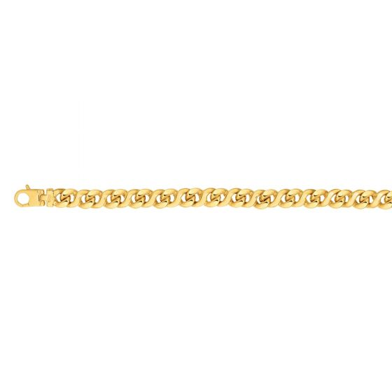 14kt Gold 8.5'' Yellow Finish 8mm Shiny Oval Bracelet with Lobster Clasp