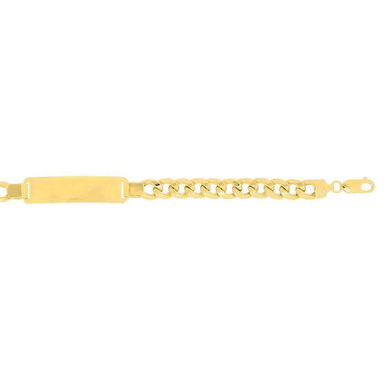 14kt 8.5'' Yellow Gold 7.8mm Lite Miami Cuban Link ID-Bracelet with Lobster Clasp