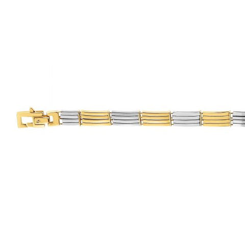 14kt Gold 8.25'' Yellow+White Finish 8mm Bracelet with Lobster Clasp