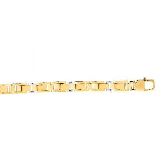 14kt Gold 8.25'' Yellow+White Finish 7mm Shiny Fancy Fancy Bracelet with Lobster Clasp