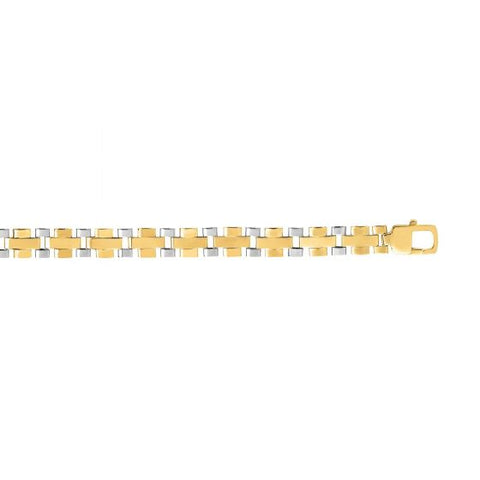 14kt Gold 8.25'' Yellow+White Finish 7mm Shiny Panther Fancy Bracelet with Lobster Clasp