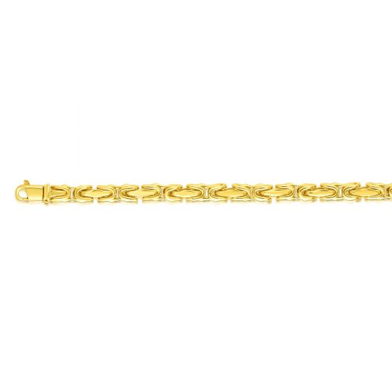 14kt Gold 8.5'' Yellow Finish 4.5mm Shiny Fancy Link Bracelet with Lobster Clasp