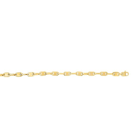 14kt Gold 8.25'' Yellow Finish 5mm Shiny Oval Fancy Bracelet with Lobster Clasp