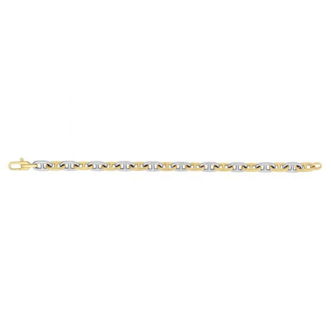 14kt 8.5'' Yellow+White Gold 7.6mm Shiny Alternate White & Yellow Marine Link Fancy Bracelet with Lobster Clasp