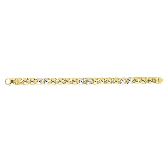 14kt 8.5'' Yellow+White Gold 9mm Shiny Puff Marquis Shaped Fancy Mariner Link Bracelet with Lobster Clasp