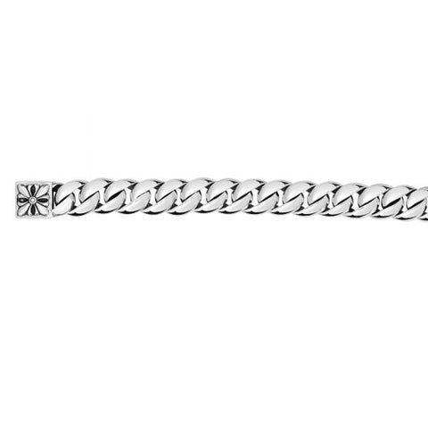 Silver 9'' Oxidized 12mm Shiny Curb Link with Box Clasp