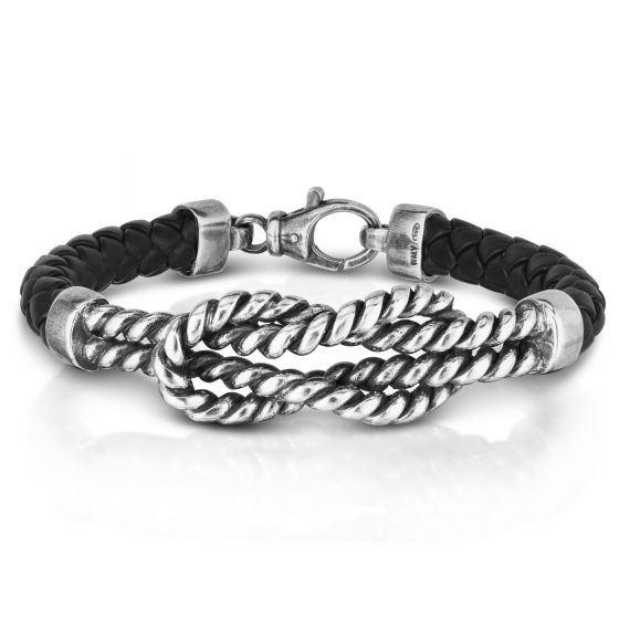 Sterling Silver 8.25'' with Oxidized Finish Bracelet with Lobster Clasp