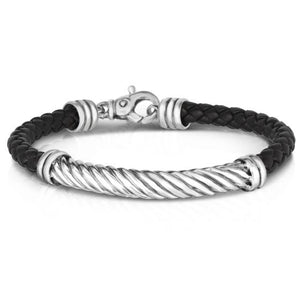 Sterling Silver 8.25'' with Rhodium Finish 6mm Shiny Round Twisted Rope Bracelet with Lobster Clasp
