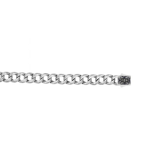 Silver 8.25'' Rhodium Finish Shiny 12.7mm Miami Cub an Type Square Link Fancy Bracelet with Black Sapphire On Square Fancy Box Clasp