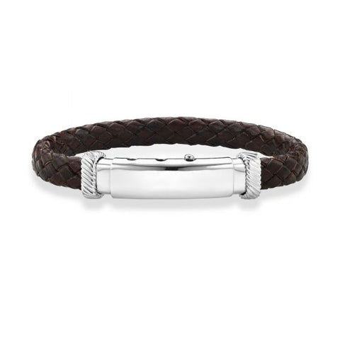 Sterling Silver 8.5'' with Rhodium Finish 10mm Adjustable Brown Leather Bracelet
