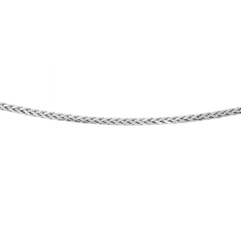 Silver 22'' with Rhodium Finish 3.80mm Diamond Cut Round Wheat Men's Chain with Pear Shape Clasp