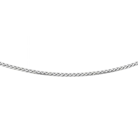 Silver 18'' with Rhodium Finish 3.10mm Diamond Cut Round Wheat Men's Chain with Pear Shape Clasp