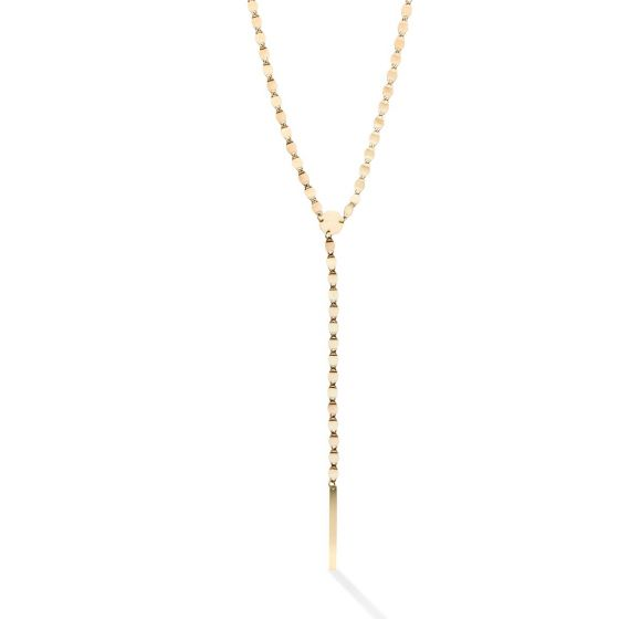14kt Gold 18'' Yellow Finish 148x3mm-Center Element,4.4mm-Chain Polished Bar 0.5'' Extender Lariat Necklace with Lobster Clasp
