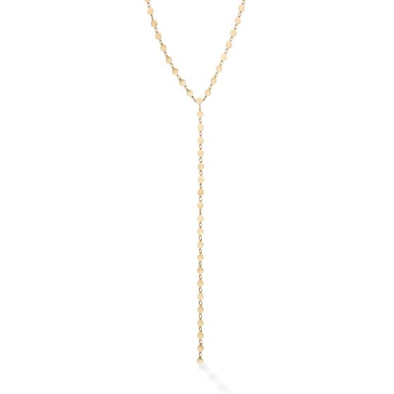 14kt Gold 17'' Yellow Finish Chain:3mm+Drop:150mm Polished Lariat Pebble Necklace with Lobster Clasp