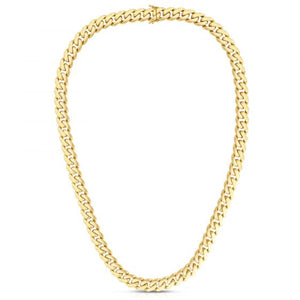 14kt Gold 24.5'' Yellow Finish 11.3mm Polished Curb Link Necklace with Slide with Double Figure 8 Clasp