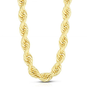 14kt Gold 26'' Yellow Finish 12mm Lite Rope Necklace with Lobster Clasp