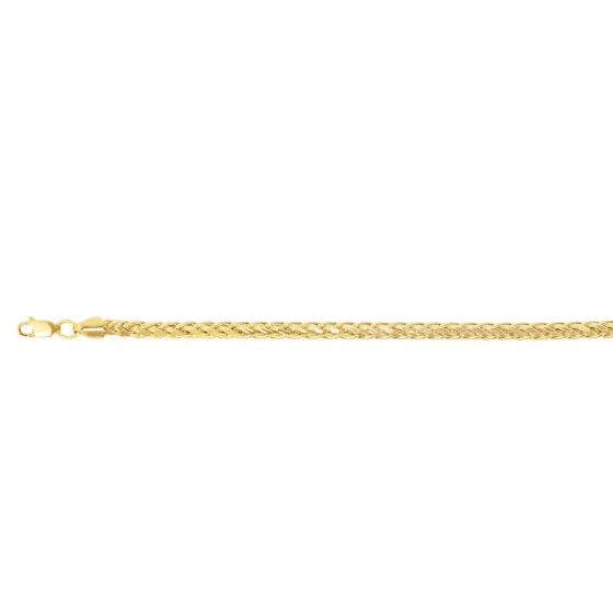 14kt Gold 24'' Yellow Finish 4.5mm Diamond Cut Round Diamond Cut Franco Chain with Lobster Clasp