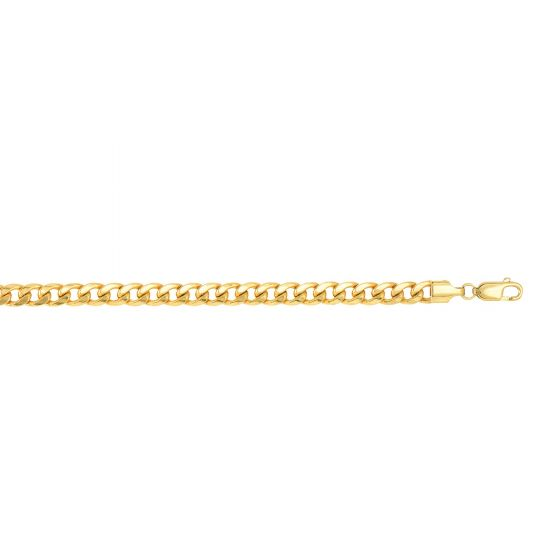 14kt Gold 20'' Yellow Finish 5.3mm Shiny Oval Light Miami Cuban Chain with Lobster Clasp