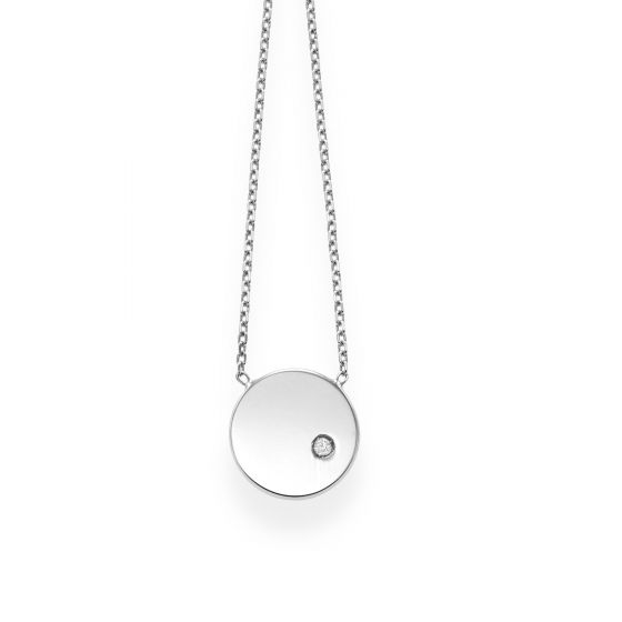 14kt Gold 18'' White Finish Shiny Round Pendant+Chain Fancy Necklace with Lobster Clasp with 0.0080ct 1.12mm White Diamond
