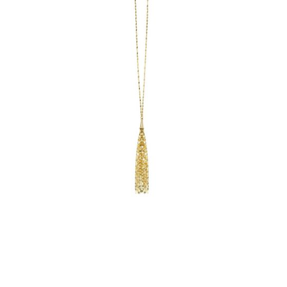 14kt Gold 24'' Yellow Finish Chain:1.5mm+DropElement:75mm Shiny Lariat Necklace with Spring Ring Clasp