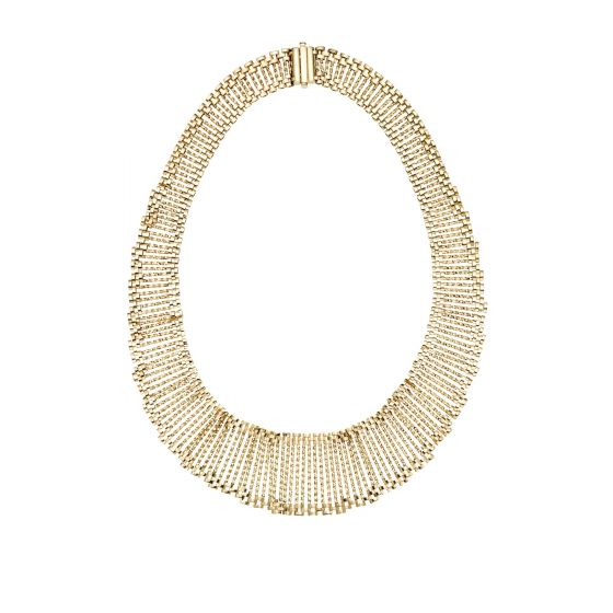14kt Gold 18'' Yellow Finish 16-36mm Shiny+Diamond Cut Graduated Cleopatra Necklace with Box Clasp