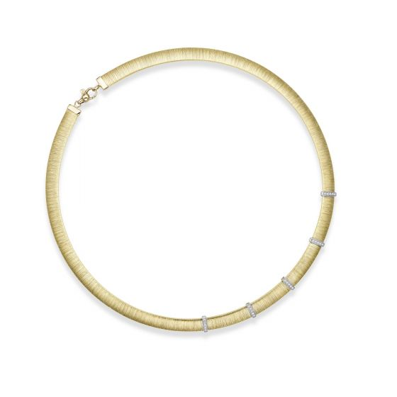 14kt Gold 17.75'' Yellow+Rhodium Finish 8mm Textured Dome Bar Stationed Necklace with Lobster Clasp with 0.2500ct 1.3mm White Diamond