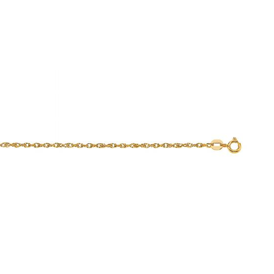 14Kt 20'' Yellow Gold Diamond Cut Carded Pendant Rope Chain with Spring Ring Clas P
