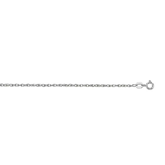 14Kt 18'' White Gold Diamond Cut Carded Pendant Rope Chain with Spring Ring Clasp