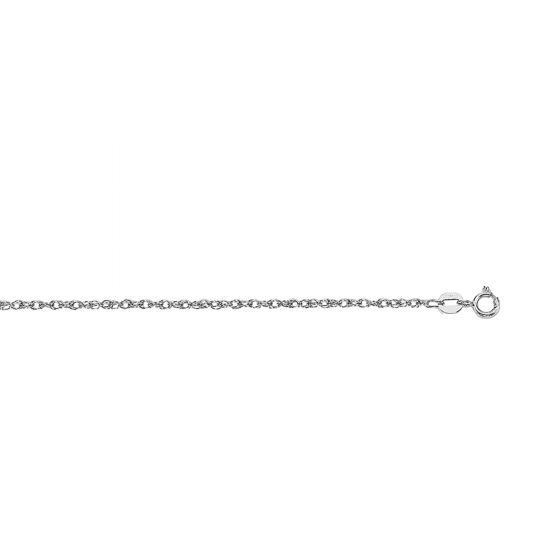 14Kt 16'' White Gold Diamond Cut Carded Pendant Rope Chain with Spring Ring Clasp