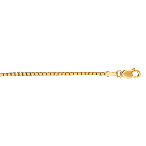 14kt 16'' Yellow Gold 1.4mm Shiny Classic Box Chain with Lobster Clasp