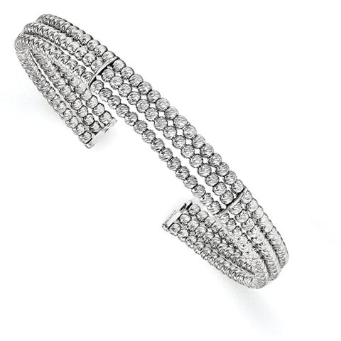Sterling Silver Rhodium-plated 3-strand Beaded Adjustable Bangle