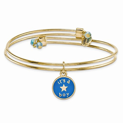 Gold-tone Trinky Things Its a Boy Star Bracelet/Card
