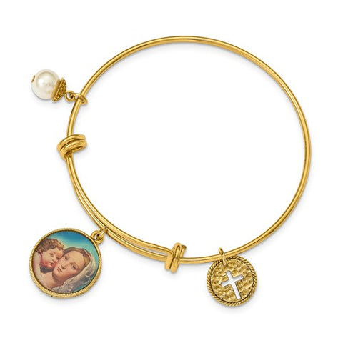 Gold-tone Cross, Simulated Pearl, Madonna and Child Bangle