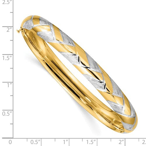 14K Two-tone 5/16 with White Rhodium Textured Braided Bangle
