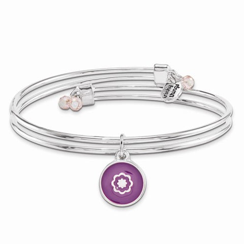 Silver-tone Trinky Things Birthday Flowers Bangle Bracelet/Card