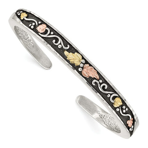 Sterling Silver and 12K Antiqued Cuff Bracelet