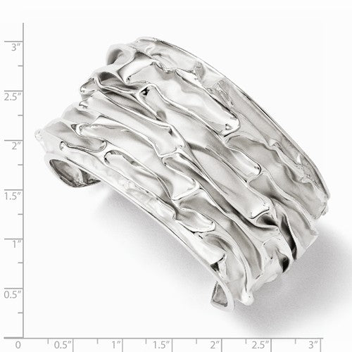 Leslie's SS Rhodium-plated Medium Domed Scrunch Bangle