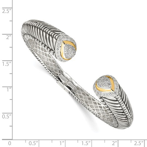 Sterling Silver with 14k 1/2ct. Diamond Hinged Cuff Bracelet