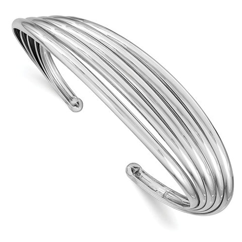 Leslie's Sterling Silver Rhodium-plated Polished Cuff