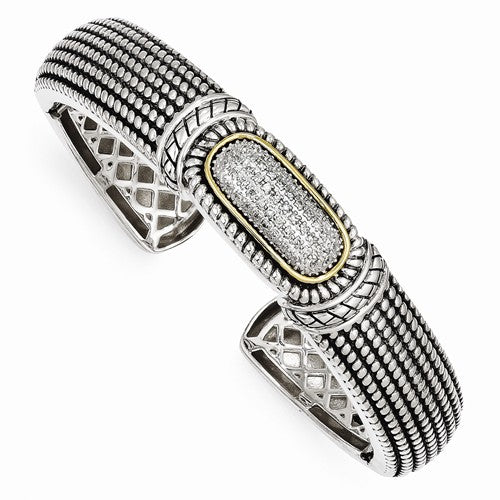 Sterling Silver with 14k 1/4ct. Diamond Cuff Bracelet