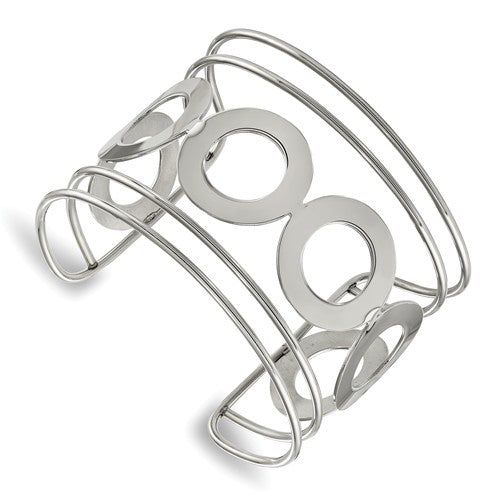 Stainless Steel Polished Circle Design 50.00mm Cuff Bangle